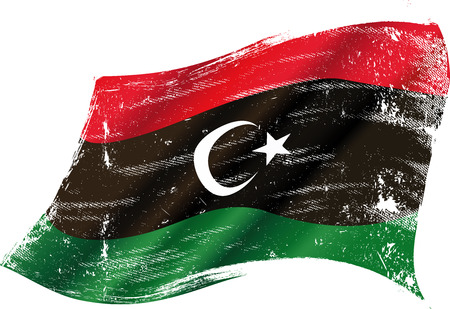 libyan: flag of Libya in the wind with a texture