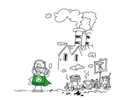 Be careful ! This area is polluted with this factory and this uncontrolled dump site Illustration