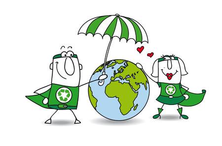 mundo contaminado: Dos superhéroes proteger la tierra! Es muy amable