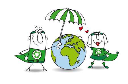Two superheroes protect the earth ! It is very kind Vector