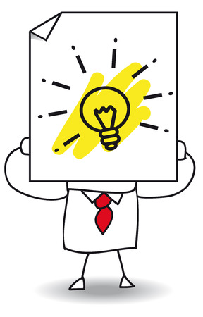 John Doe holds a sheet of paper on which is a light bulb. It is a metaphor. He has a good idea Stock Illustratie