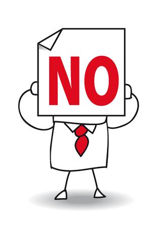 pas d accord: John Doe est titulaire d'une feuille de papier sur lequel est �crit Non et non. Il est en d�saccord