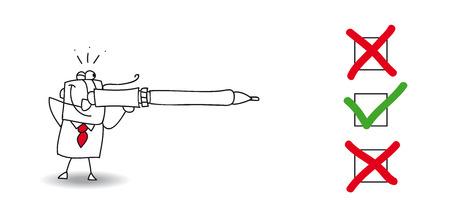 Joe utilizar su pluma como un arma. él debe marcar una casilla para tomar una decisión. Su objetivo es la caja con su pluma