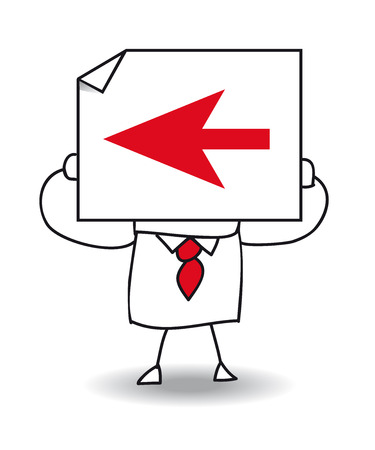 err: John Doe holds a sheet of paper on which is a red arrow. Follow this way, go left but it is maybe the wrong way.