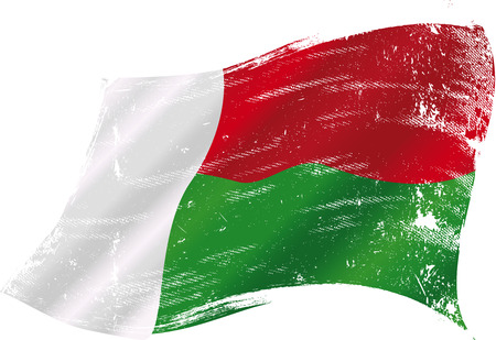 an island tradition: flag of Madagascar in the wind with a texture Illustration