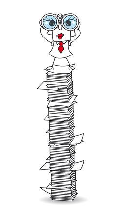 Karen is with binoculars on a paper stack. It's a metaphor