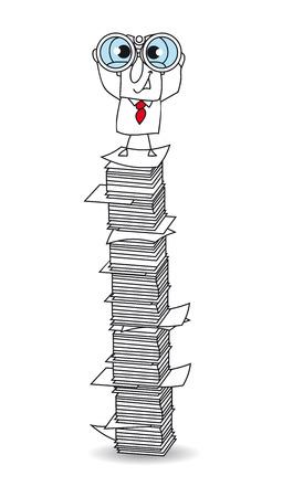 superviser: Joe est avec des jumelles sur une pile de papier. Ce est une m�taphore Illustration