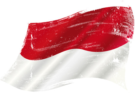 grained: A grunge flag of Indonesia in the wind for you Illustration