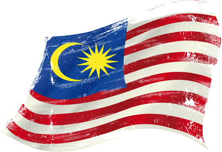 torned: Malaysian grunge flag with a texture in the wind Illustration