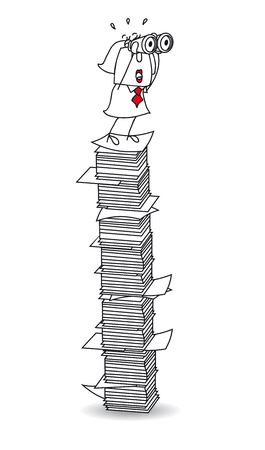 Karen is with binoculars on a paper stack. Its a metaphor
