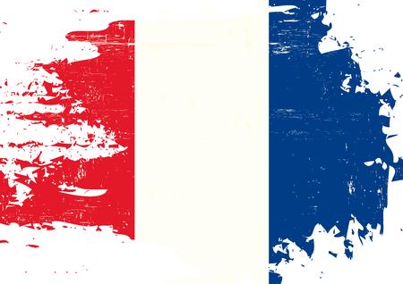 グランジ テクスチャとフランス国旗