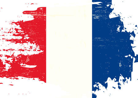 french flag: A french flag with a grunge texture