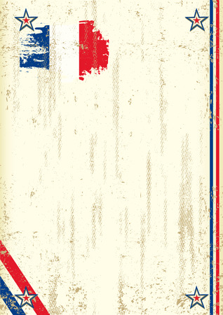 french flag: A vintage background with a french flag and a texture for your advertising