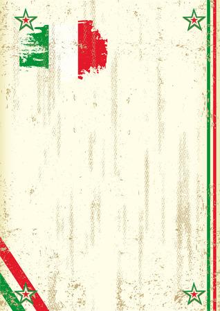bandera de italia: Un fondo vintage con una bandera italiana y una textura para su publicidad Vectores