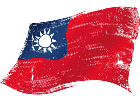 taiwanese: Taiwanese grunge flag with a texture in the wind