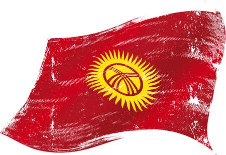 kyrgyzstan: bandera de Kirguist�n en el viento con una textura Vectores