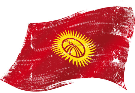 russian culture: flag of Kyrgyzstan in the wind with a texture