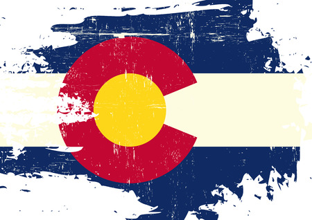 A flag of Colorado with a grunge texture