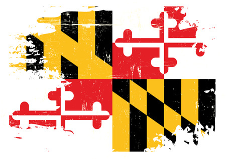 A flag of Maryland with a grunge texture