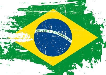 grained: A flag of Brazil with a grunge texture