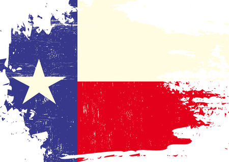 A flag of Texas with a grunge texture Çizim