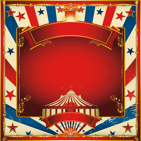 revue: A circus vintage square greeting card for your entertainment Illustration