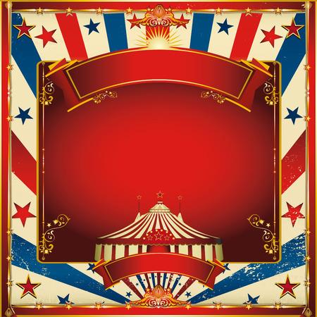 circo: Una tarjeta de felicitación de la vendimia plaza de circo para su entretenimiento Vectores