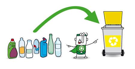 niños reciclando: Juan el pequeño guerrero eco muestra el contenedor para el reciclaje de plástico