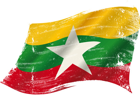 bad condition: A grunge flag of Myanmar or Burma in the wind flag for you