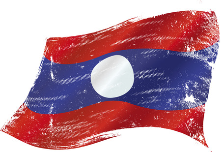 vientiane: flag of Laos in the wind with a texture