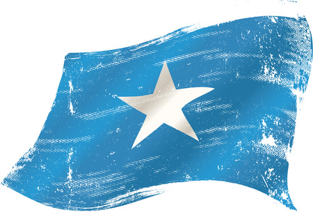 bad condition: A grunge Somalian flag for you in the wind Illustration