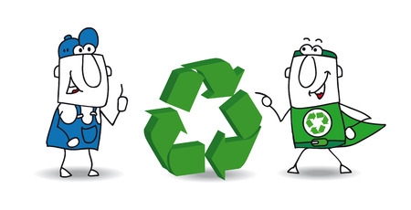 find a solution: The super ecology warrior and a worker with a three dimensional eco sign. They want to find a solution for recycling the wastes of their factory. Illustration