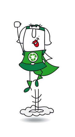 action: Super Recycling woman is flying very fast ! Its an emergency. She can help your company to recycling her wastes !