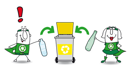 Karen and Joe the eco superheroes are recycling plastic bottles in a specific container Vector