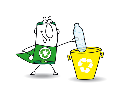 recycling bottles: Recycle-Man the superhero recycles a plastic bottle in a specific trash