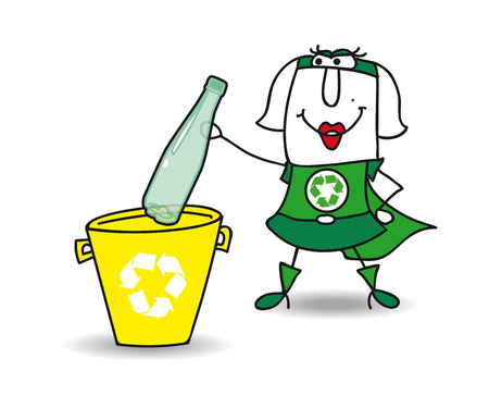 recycles: Karen the Recycle-woman recycles a plastic bottle in a specific trash