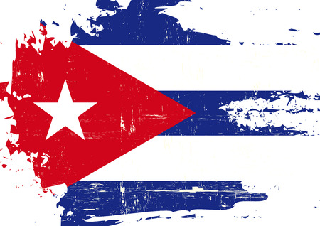cubana: Una bandera cubana con una textura grunge Vectores