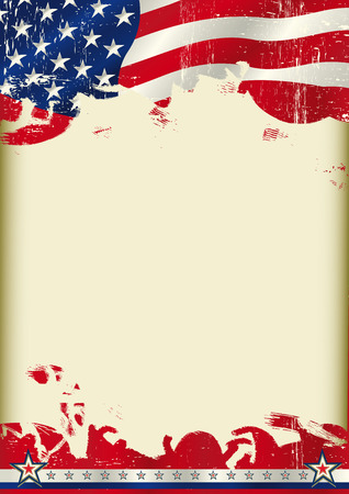 An american waving flag on this poster with a large copy space for your message on this poster.