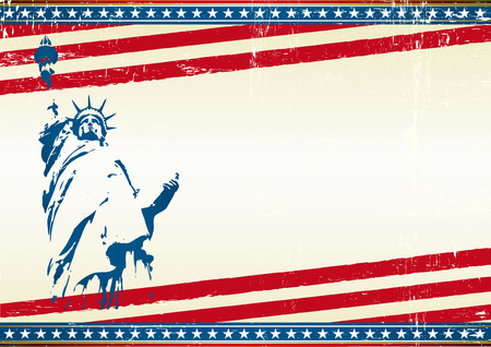 4 july: A grunge horizontal poster with the statue of liberty in new york city. Symbol of freedom in the USA. Illustration