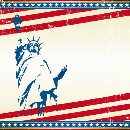 strenght: A grunge poster with the statue of liberty in new york city. Symbol of freedom in the USA