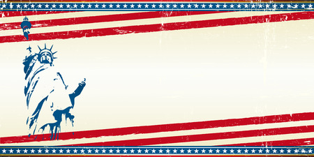 A grunge horizontal greeting card with the statue of liberty in New York City. Symbol of freedom in the USA. Illustration