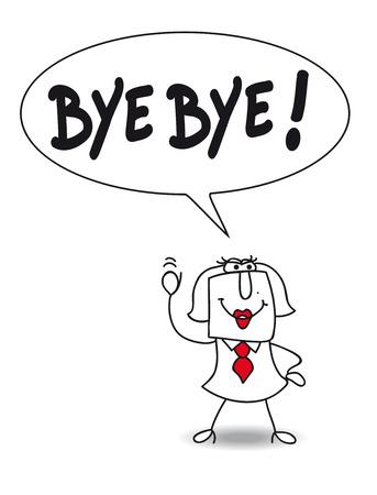 Karen says Bye bye. Illustration