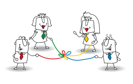 A group of businessmen and businesswomen hold a colored rope. It is a metaphor of co-development in a team