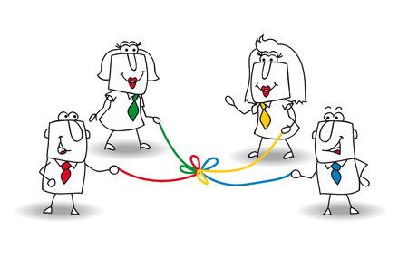 ビジネスマンやビジネスウーマンのグループは、色のロープを保持します。それはチームで共同開発の隠喩