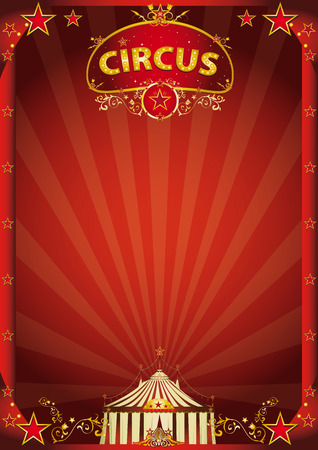 circus stage: A retro circus poster with sunbeams for your entertainment.