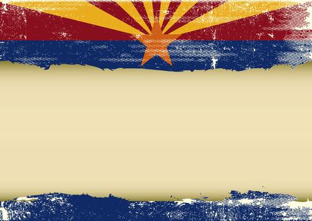 アリゾナ州とあなたのメッセージをフレームの傷旗の背景  イラスト・ベクター素材