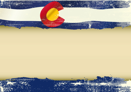 colorado flag: An horizontal  background with a scratched flag of Arizona and a frame for your message