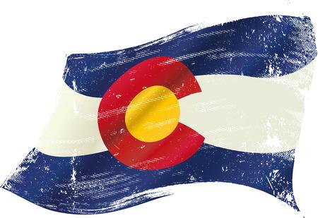 Денвер: Флаг Колорадо с гранж текстуры на ветру