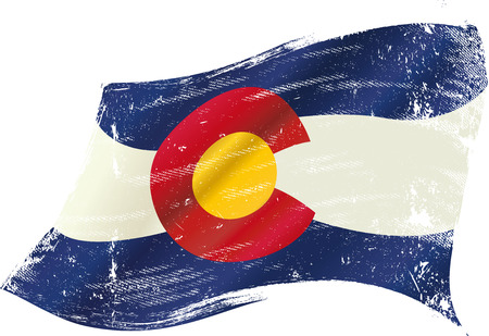 colorado state: A flag of Colorado with a grunge texture in the wind