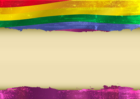 Horizontal  background with a scratched gay flag  and a frame for your message Ilustração
